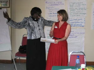 Carrie and Rev. Canon Hellen Oneka, New Life seminar in Kampala, Uganda